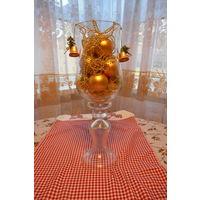 """Ваза большая - шары,бусы,колокольчик , """"золотые"""" , для новогоднего декора . 38см"""