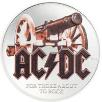 "Острова Кука 2 доллара 2019г. ""AC/DC – For Those About to Rock"". Монета в капсуле; подарочном футляре; сертификат; коробка. СЕРЕБРО 15,55гр.(1/2 oz)."