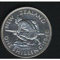 Новая Зеландия 1 шиллинг 1940 г. Серебро.
