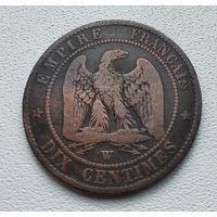 """Франция 10 сантимов, 1853 """"W"""" - Лилль 8-8-2"""
