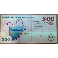 500 франков 2018 года - Бурунди - UNC
