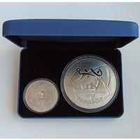 Олимпийские игры 2012 года. Гандбол, подарочный набор из 2-х монет в футляре