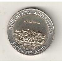 Аргентина 1 песо 2010 200 лет Аргентине вулкан Аконкагуа