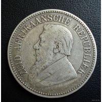 ZAR, Трансвааль (Южно-Африканская Республика). 2,5 шиллинга 1896 г. Пауль Крюгер. - 2