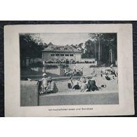 Старая открытка. Франкфурт. Песочница. Дети. Отдых. 1920-е. Германия. Марка. Штемпель.