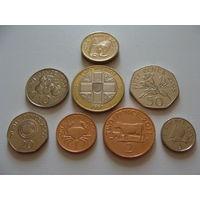 Гернси. набор 8 монет 1992-2011 год  1,2,5,10,20,50 пенсов, 1,2 фунта  UNC