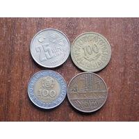 Четыре монеты  по 1 рублю