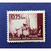 Независимое Хорватское государство. Июнь 1942 год. Хорватские пейзажи - перевыпуск марки с новым номиналом.