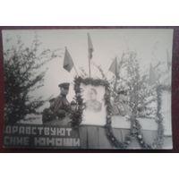 Военные на трибуне. 1940-50-е. Сталин. Размер 10 х 7 см