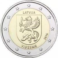 2 евро Латвия 2016 историческая область Видземе. Из ролла