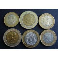 Шесть биметаллических монет мира. 1992-2008 г.