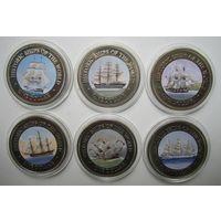 Острова Кука. Набор долларов 2003. BrUnc. Исторические корабли.  .S.0000