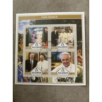 Соломоновы острова 2017. Папа Римский Франциск. Малый лист