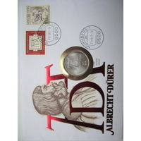 ФРГ. 5 марок 1971.  500 лет со дня рождения Альбрехта Дюрера. Серебро. Конверт, марки  ПС-40