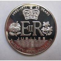 Кука о-ва, 25 долларов, 1977,  серебро, пруф