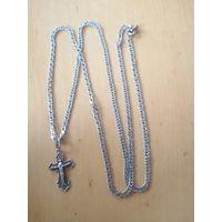 Цепочка с крестиком 925 серебро