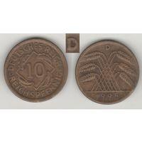 Германия __km40 (Веймарская) 10 пфенниг 1925 год (D) (f17)*