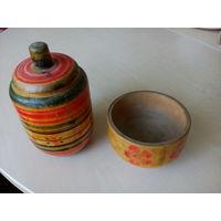 Винтажные деревянные солонка и чайница