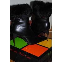 Очень модные,кожанные,зимние полусапожки фирмы Paolo Conte,р.37.Чёрные и новые!
