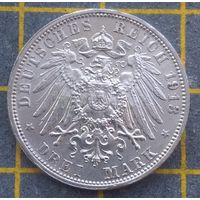 Монета  Германия Саксония 3 марка 1913 E
