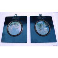 Две Старинных Миниатюры. Гравюры, ручная раскраска, черные рамы- Папье-Маше?, бронза, патина, стекло, конец 18-го- начало 19-го века. Размер рам около 10см х 12см. Миниатюры в отличном для их возраста