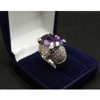 Шикарный перстень Ag_925 с аметистом и россыпью фианитов, Р-16.5, 16.35 гр.