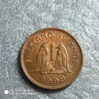 G Фолклендские острова 1 пенни 1998 г. ПИНГВИНЫ