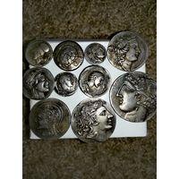 12-ть Античных Монет!(Благородные копии, Без Дублей.)