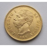 Италия 20 лир 1882 золото