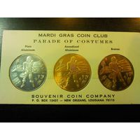 3 сувенирные монеты с пиратом и кладом сша марди грасс
