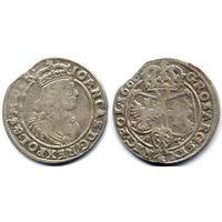 6 грошей (шостак) 1666 AT, Ян II Казимир Ваза. Рв - углы щитов украшены. Коллекционное состояние