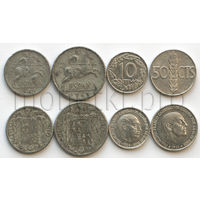 Испания 4 монеты 1940-1975 годов. Алюминий (VF-XF)