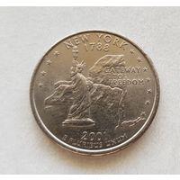 25 центов США 2001 г. штат Нью Йорк P