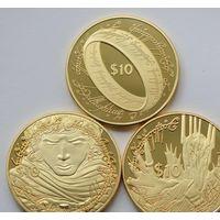 НОВАЯ ЗЕЛАНДИЯ 10 $ 2003 ВЛАСТЕЛИН КОЛЕЦ ПОЗОЛОТА НАБОР 3 МОНЕТЫ КОПИИ