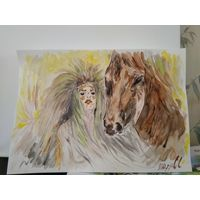 """Картина """"Девушка с конем"""". Акварель, А3"""