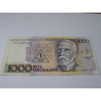 Бразилия 1000 крузадо (1 крузадо новый) 1989 года