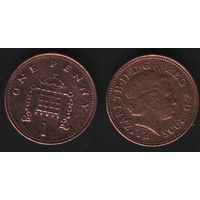 Великобритания _km986 1 пенни 2005 год (обращ) (h01)