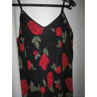 Коктейльное платье на подкладке, с ярким цветочным принтом, пр-ва США, 50 р-р