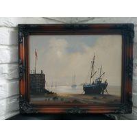 Картина Винтажная масло холст Подписная Англия 20 Век в Раме Море Корабль.С рубля!