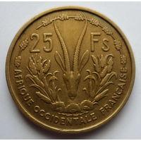"Французская Западная Африка 25 франков 1956 ""Газель песчаная"""