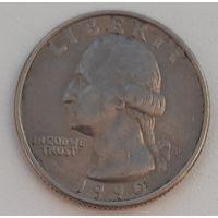США - 25 центов 1990 Р_km#A164a – РАСПРОДАЖА: - ОТЛИЧНОЕ СОСТОЯНИЕ!