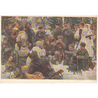 СССР Чистая маркированная почтовая карточка Отдых после боя по поэме А. Твардовского Василий Теркин 1954 год