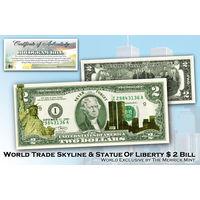 США бона $2 доллара 11 СЕНТЯБРЯ ЗОЛОТАЯ ГОЛОГРАММА. ПОДАРОЧНАЯ