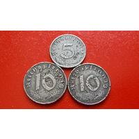 10+5+10 Пфеннигов -(1940+1940+1943)- ГЕРМАНИЯ - III Рейх - *цинк