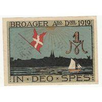 Дания оккупация Германией Нотгельд 1 марка 1919 года. Состояние aUNC!