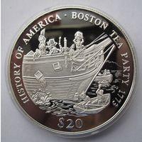 Либерия 20 долларов 2000 Бостонское чаепитие 1773 - серебро 20 гр. 0,999 - нечастая!