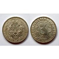 Германия. 3 марки 1000лет Нордхаузен. 1927 А. Веймар. Серебро. UNC. Редкая.