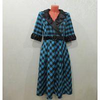 Платье клетка бирюза-чёрный
