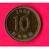 10-26 Южная Корея, 10 вон 2000 г.