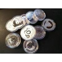 Инвестиционные монеты, разных стран, серебро, 1 унция (1 oz), на обмен, список - цена за 1 шт/унцию при продаже